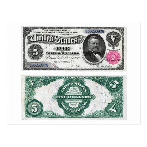 $5 Banknote Silver Certificate Series 1891 Postcards