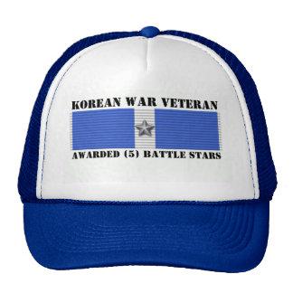 5 BATTLE STARS KOREAN WAR VETERAN TRUCKER HATS