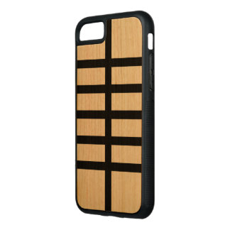 5 Bisected Black Lines on Natural Wood Carved iPhone 8/7 Case