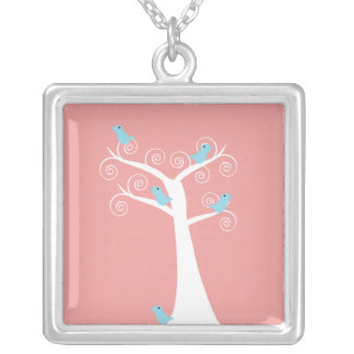 5 Blue birds in a Tree Necklace