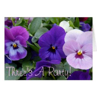 5 Blue Purple Lavender Pansies Cards