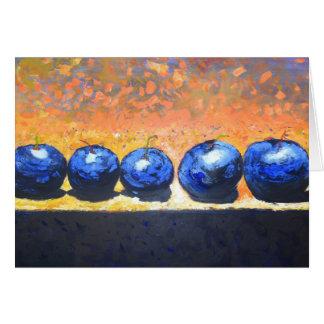 5 Blueberries Blank Card