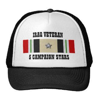 5 CAMPAIGN STARS / HAT / IRAQ VETERAN