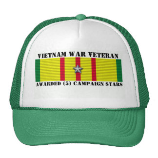 5 CAMPAIGN STARS VIETNAM WAR VETERAN MESH HATS