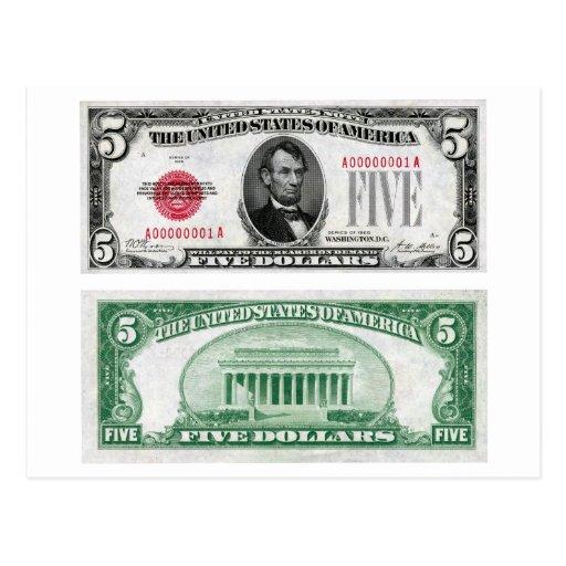 $5 Dollar Legal Tender Banknote Series 1928 Postcards