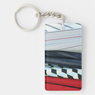 5 Fabrics With Geometric Patterns Double-Sided Rectangular Acrylic Key Ring