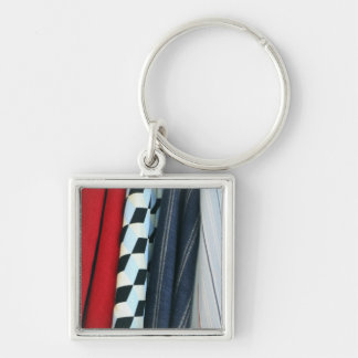 5 Fabrics With Geometric Patterns Silver-Colored Square Key Ring