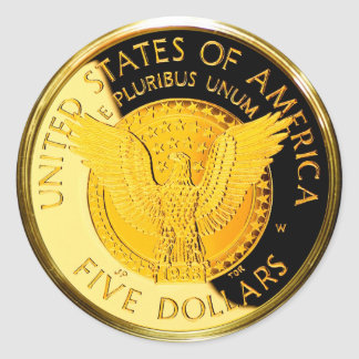 $5 FDR Gold Coin (pack of 6/20) Round Sticker