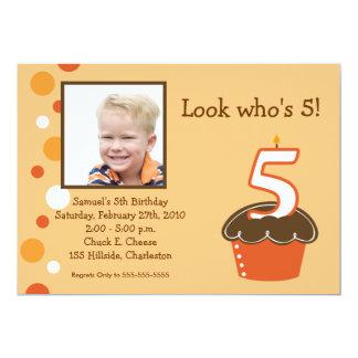 5 FIVE year old CUPCAKE PHOTO BIRTHDAY Orange 13 Cm X 18 Cm Invitation Card