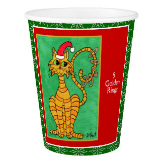 5 Golden Rings Cute Animals 12 Days of Christmas Paper Cup