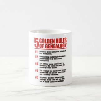 5 Golden Rules Of Genealogy Coffee Mug
