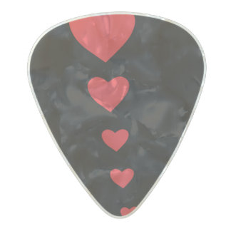 5 hearts pearl celluloid guitar pick