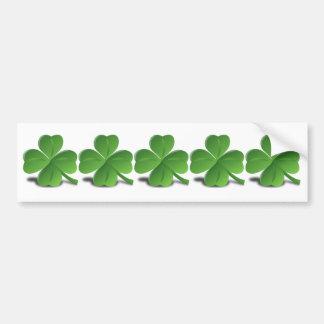 5 Irish Shamrocks in a Row Ireland  Plain Simple Bumper Sticker