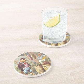 5 Little Pigs: At the Market Beverage Coaster