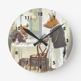 5 Little Pigs: The Roast Beef Pig Wall Clocks