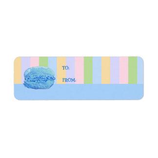 5 Macarons stripes blue Gift Tag Label Return Address Label