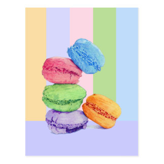 5 Macarons stripes Postcard