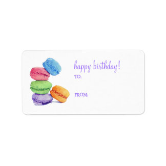 5 Macaroons Birthday Gift Tag Label Address Label