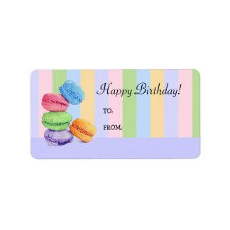5 Macaroons stripes Birthday Gift Tag Label Address Label