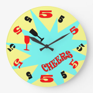 5 O'Clock Cheers Wall Clock (blue and yellow)