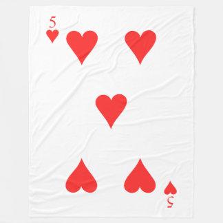 5 of Hearts Fleece Blanket