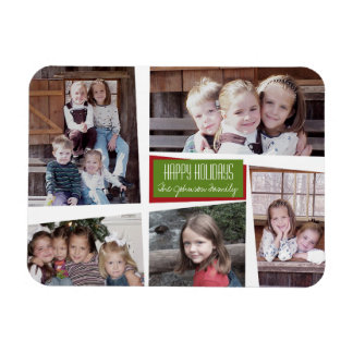 5 Photo Collage Retro Happy Holidays Red Green Magnet
