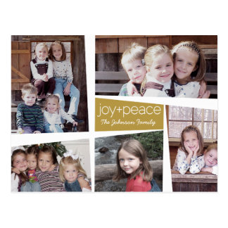 5 Photo Holiday Collage Retro Joy and Peace - Gold Postcard
