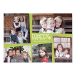 5 Photo Holiday Collage Retro Joy and Peace Green 13 Cm X 18 Cm Invitation Card