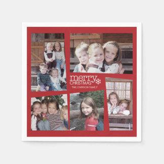 5 Photo Holiday Collage Retro Merry Christmas Disposable Napkins