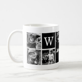 5-Photo Template Personalized Monogram Coffee Mug