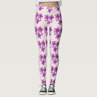 5 Pink bold flower in a pattern on leggings
