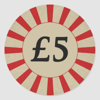 £5 (Pound) Round Glossy Price Tags Round Sticker