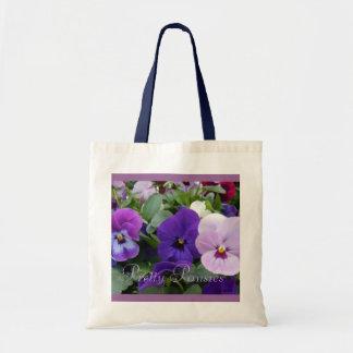 5 Purple Lavender Blue Pansies Budget Tote Bag