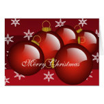5 Red Christmas Tree Ornaments Holiday Card