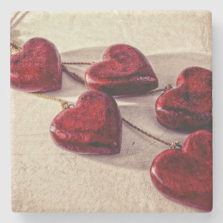5 Red Wooden Hearts Entwined Together Stone Beverage Coaster