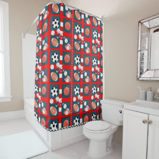 5 Sports Tiled Shower Curtain