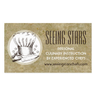 5 star chefs hat knife herbs catering culinary pack of standard business cards