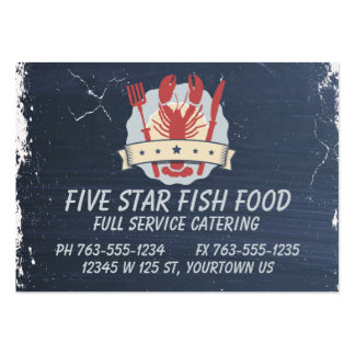 5 star lobster fork knife chalkboard chef catering pack of chubby business cards