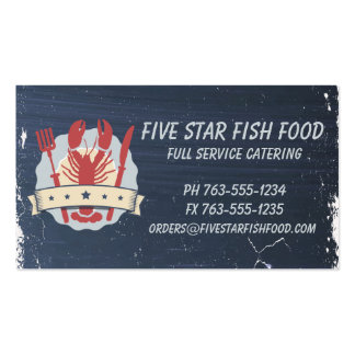 5 star lobster fork knife chalkboard chef catering pack of standard business cards