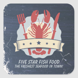 5 star lobster fork knife chalkboard chef catering square sticker