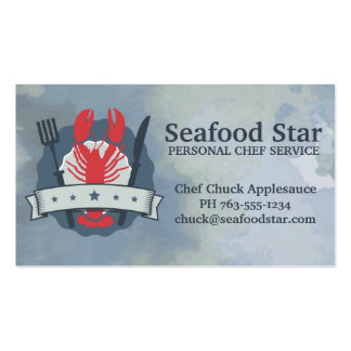 5 star lobster fork knife watercolor chef catering pack of standard business cards
