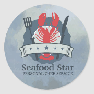 5 star lobster fork knife watercolor chef catering round sticker