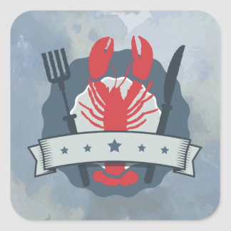 5 star lobster fork knife watercolor chef catering square sticker