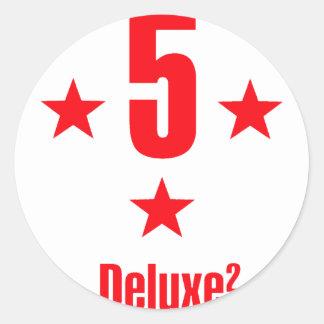 5 stars deluxe round sticker