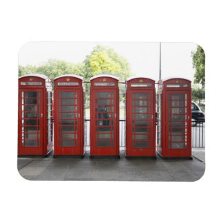 5 telephone boxes in London Rectangular Photo Magnet