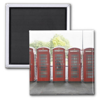 5 telephone boxes in London Square Magnet