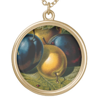 5 vintage plums painting gold plated necklace