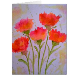 5 Vivid Watercolor Flowers Greeting Card by  Julie