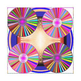 5 WHEEL CHAKRA ART Abstract Mandala Canvas Print