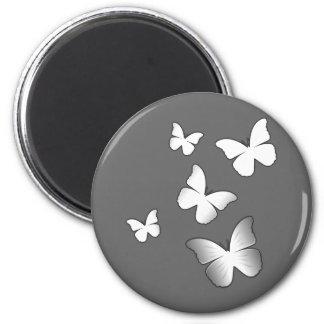 5 White Butterflies 6 Cm Round Magnet
